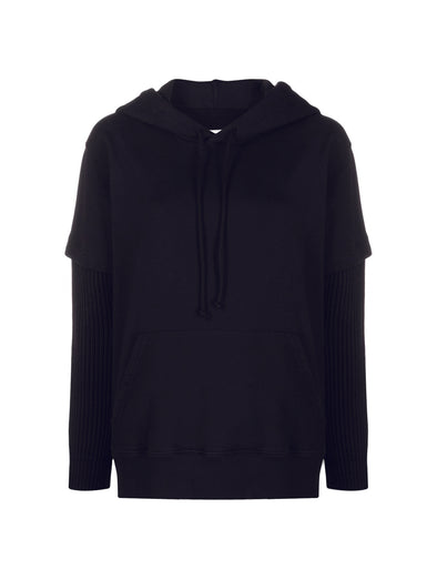 MM6 Unisex Black Layered Hoodie