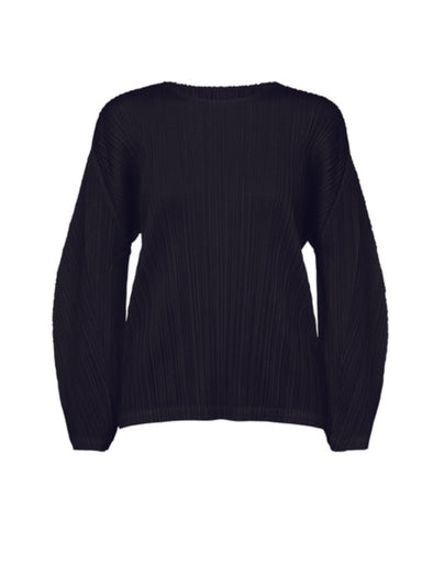 Pleats Please Issey Miyake Black Round Neck Top