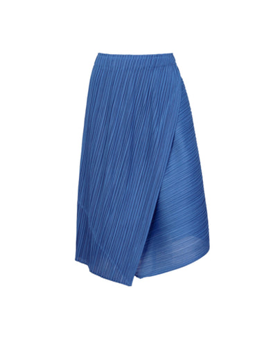 Pleats Please Issey Miyake Blue Diagonal Pleats Skirt