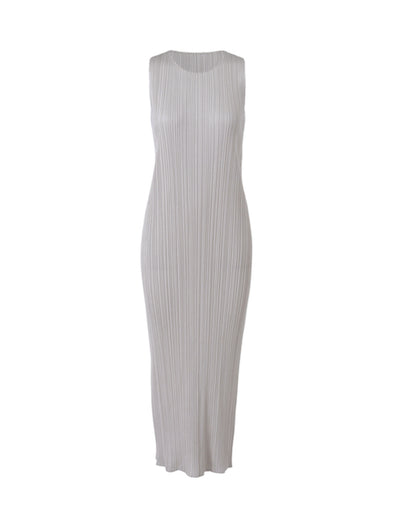 Pleats Please Issey Miyake Light Grey Basics Long Shift Dress