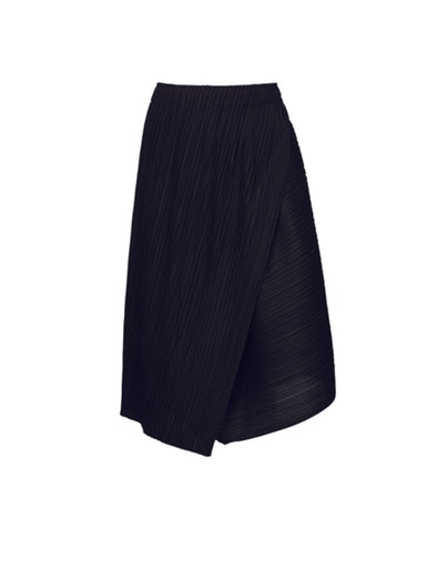 Pleats Please Issey Miyake Black Diagonal Pleats Skirt