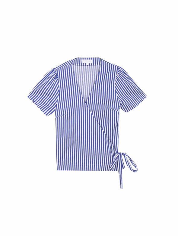 Maison Labiche Ultramarine Stripe Wrap Top
