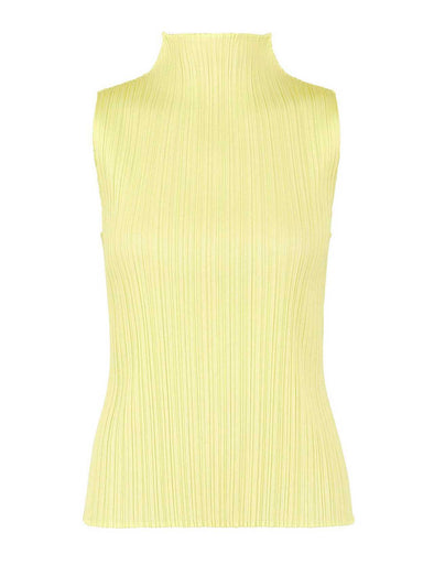 Pleats Please Baby Yellow Monthly Colours High Collar Top