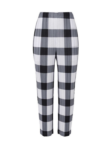 Pleats Please Issey Miyake Black & White Glen Check Pants