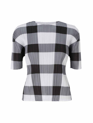 Pleats Please Issey Miyake Black & White Glen Check Top