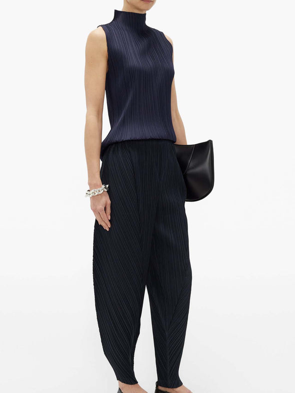 Pleats Please Issey Miyake Navy Basics High Collar Tank Top