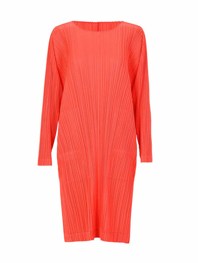 Pleats Please Issey Bright Red Monthly Colours Long Sleeve Dress
