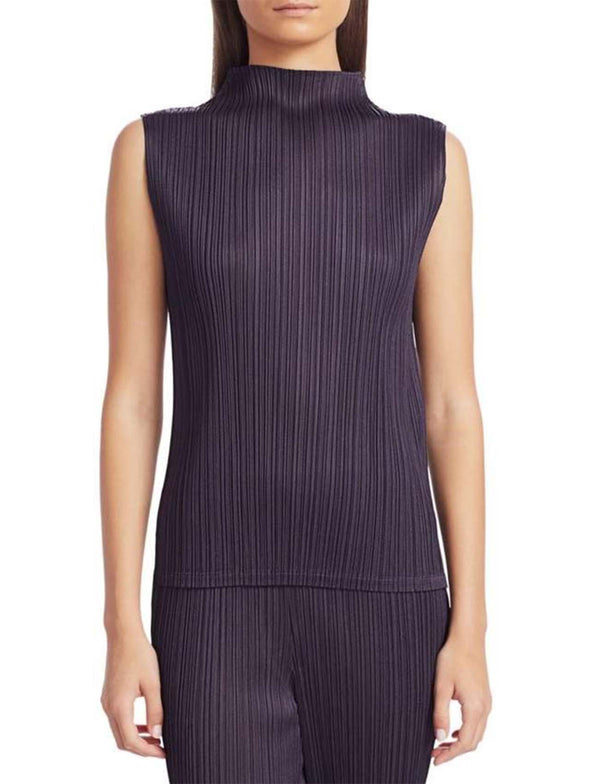 Pleats Please Issey Miyake Charcoal Basics High Collar Tank Top