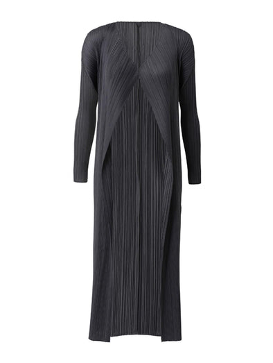 Pleats Please Issey Miyake Black Basics Long Sleeve Coat