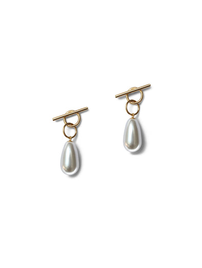 Momoko Hatano Gold White Pearl Two Way Tangle Earrings
