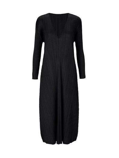 Pleats Please Issey Miyake Black Monthly Colours Long Sleeved Dress