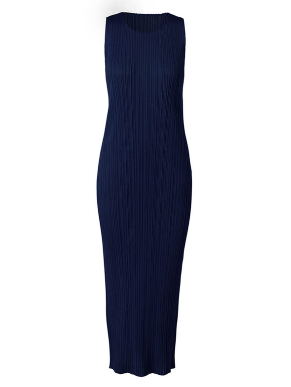 Pleats Please Issey Navy Colourful Basics Long Shift Dress