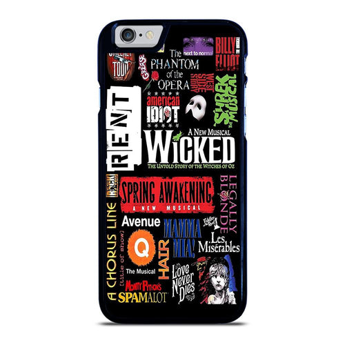 coque custodia cover fundas hoesjes iphone 11 pro max 5 6 7 8 plus x xs xr se2020 C12245 BROADWAY MUSICAL COLLAGE iPhone 6 / 6S Case
