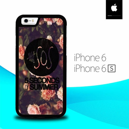 5 Seconds Of Summer On Classic Floral On Pink O3431 hoesjes iPhone 6, iPhone 6S