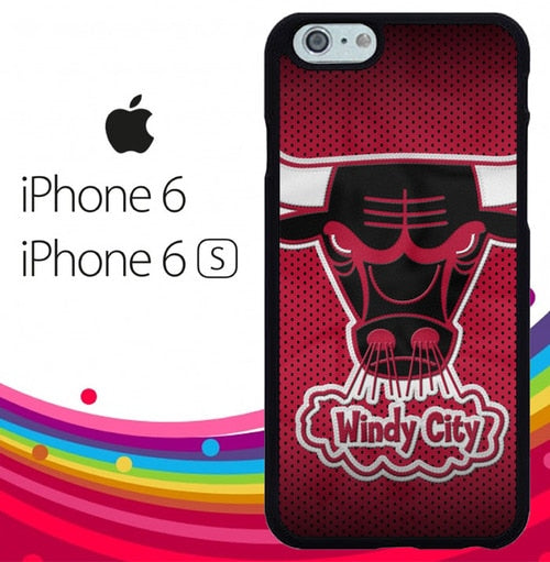 chicago bulls logo Z4132 hoesjes iPhone 6, iPhone 6S