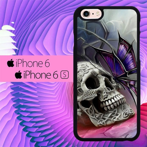 Skull With Butterfly L0259 hoesjes iPhone 6, iPhone 6S