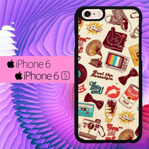 Retro Wallpaper L0420 hoesjes iPhone 6, iPhone 6S