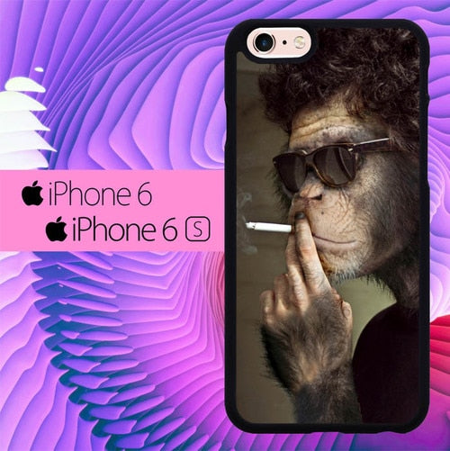 Smoking Monkey Funky L0565 hoesjes iPhone 6, iPhone 6S