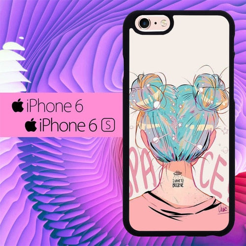 Space Girl L0696 hoesjes iPhone 6, iPhone 6S