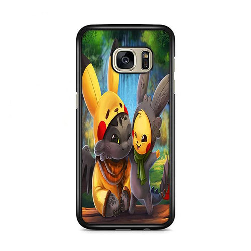 Pikachu and Toothless Samsung Galaxy S7 Edge hoesjes