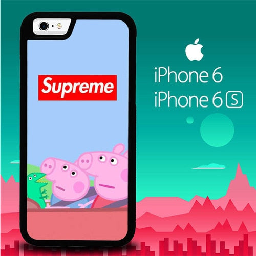 Supreme Peppa Pig P1680 hoesjes iPhone 6, iPhone 6S
