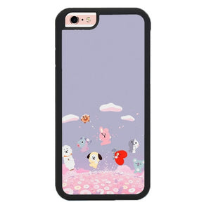 BTS BT21 Playing In Flower Garden P1895 hoesjes iPhone 6, iPhone 6S