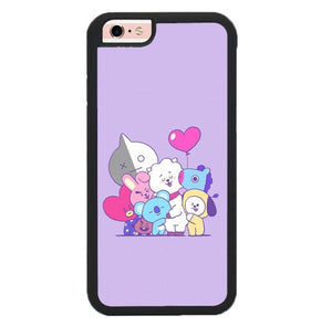 BTS BT21 Purple Texture P1896 hoesjes iPhone 6, iPhone 6S
