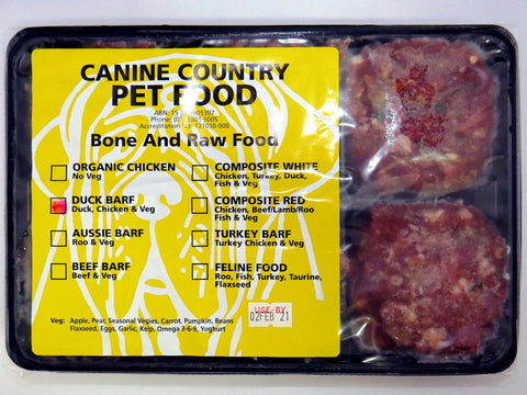CANINE COUNTRY DUCK BARF TRAY 1KG