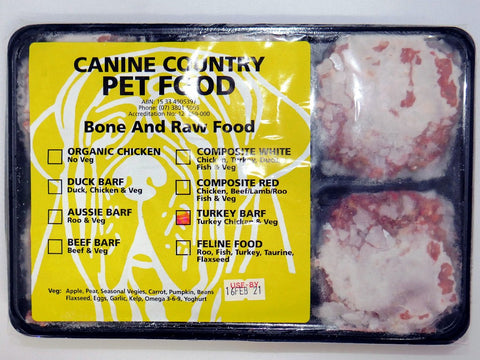 CANINE COUNTRY TURKEY BARF TRAY 1KG