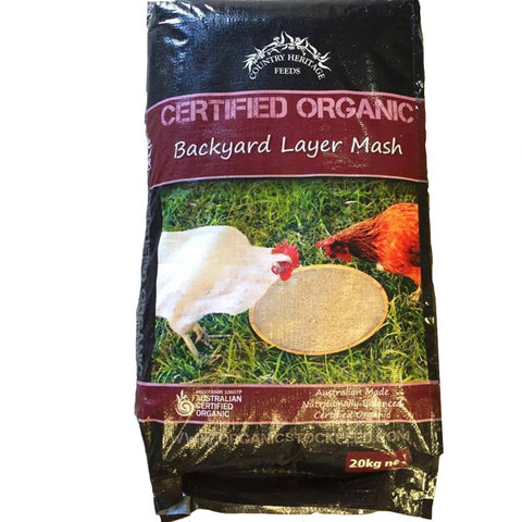 COUNTRY HERITAGE FEEDS CERTIFIED ORGANIC BACKYARD LAYER MASH 20KG