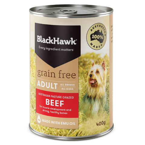 BLACK HAWK DOG FOOD BEEF CAN 12x400G