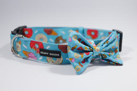 SOAPY MOOSE ADJUSTABLE COLLAR WITH BOW TIE SWEET TEMPTATIONS