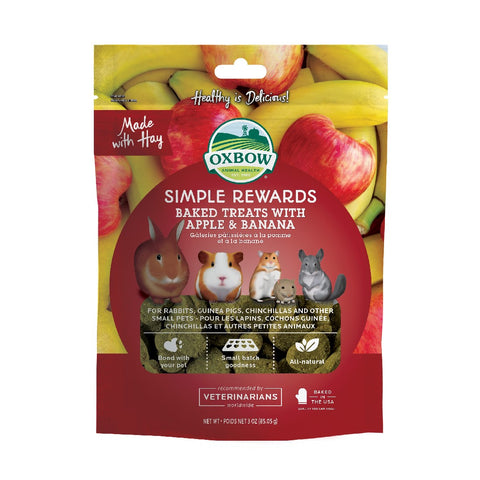 OXBOW SIMPLE REWARDS APPLE & BANANA TREATS 40G