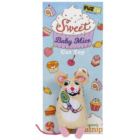 FUZZY SWEET BABY CAT TOY LOLLI MOUSE