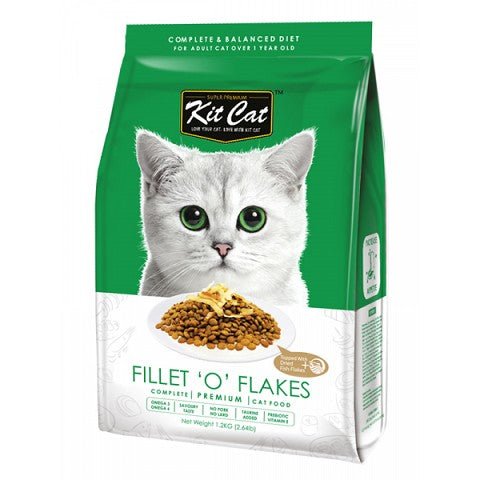 KIT CAT PREMIUM CAT FOOD FILLET OF FLAKES 1.2KG