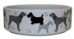 CERAMIC BOWL DOG PRINT 19.1CM