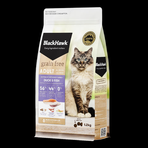BLACK HAWK DUCK & FISH GRAIN FREE CAT FOOD 1.2KG