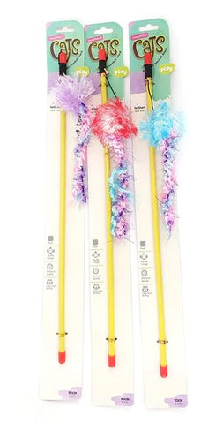 Trendy Pets Feathers & Ball Cat Teaser Wand - Assorted Colours