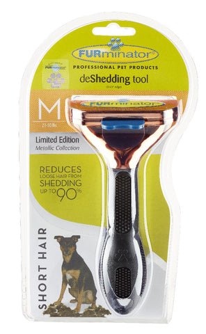 FURMINATOR DE-SHEDDING BRUSH MEDIUM DOG - SHORT HAIR METALLIC ROSE GOLD