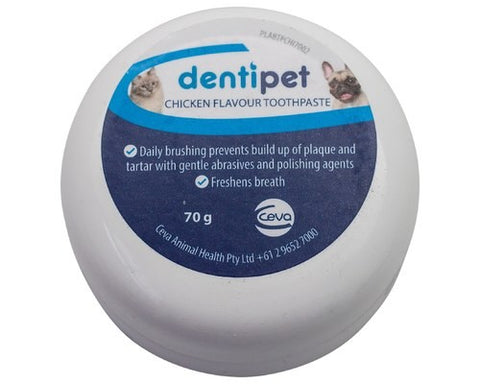 DENTIPET CHICKEN FLAVOURED TOOTHPASTE TUB 70G