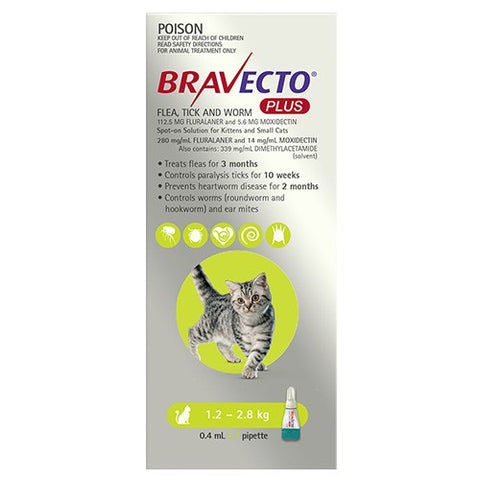 BRAVECTO PLUS SPOT ON CAT GREEN 1.2-2.8KG SINGLE