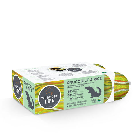 Balanced Life Crocodile & Rice Dog Roll Box 2 x 650g (1.3kg)