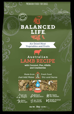 BALANCED LIFE REHYDRATE LAMB DOG FOOD MEAL TOPPER 200G