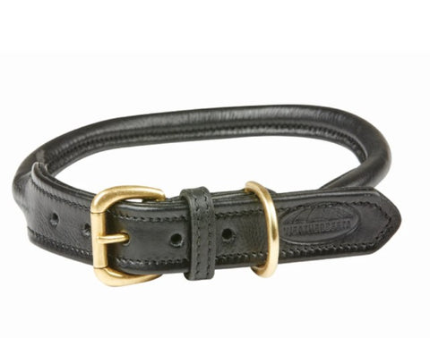 WEATHERBEETA ROLLED LEATHER DOG COLLAR BLACK