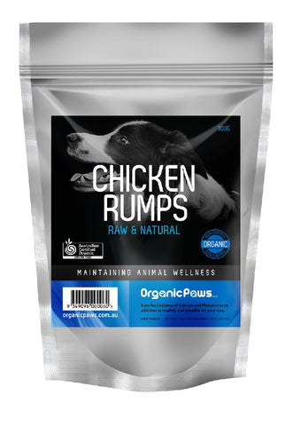 ORGANIC PAWS CHICKEN RUMPS 900GM