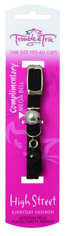 TROUBLE & TRIX CAT COLLAR HIGH STREET STRETCH BLACK