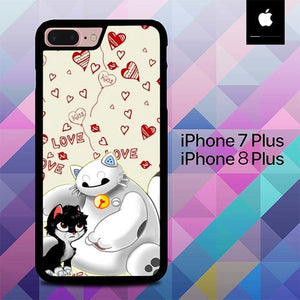 Baymax And Grumpy Cat Hairy Baby  O0655 hoesjes iPhone 7 Plus , iPhone 8 Plus