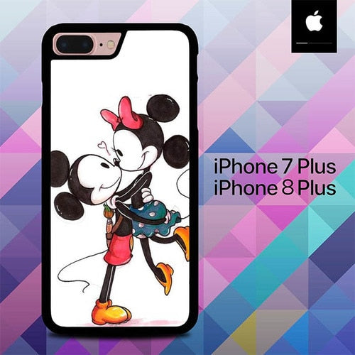 Romantic Couple Mickey Mouse O0724 hoesjes iPhone 7 Plus , iPhone 8 Plus