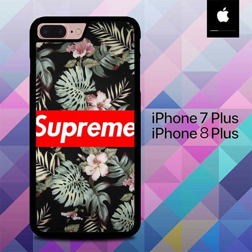 Supreme Black Rose Floral O0774 hoesjes iPhone 7 Plus , iPhone 8 Plus