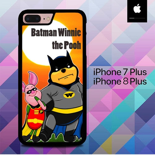 Winnie the Pooh Batman and Piglet robin O3146 hoesjes iPhone 7 Plus , iPhone 8 Plus